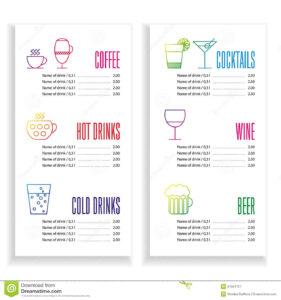 002 Drink Menu Template Free Vertical Color Cocktail throughout Cocktail Menu Template Word Free