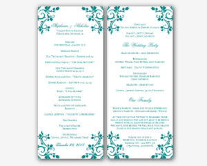 002 Free Printable Wedding Program Templates Word Menu with regard to Free Printable Wedding Program Templates Word