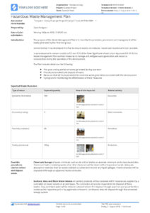 002 Plan Template Hazardous Waste Disposal Management Page throughout Certificate Of Disposal Template