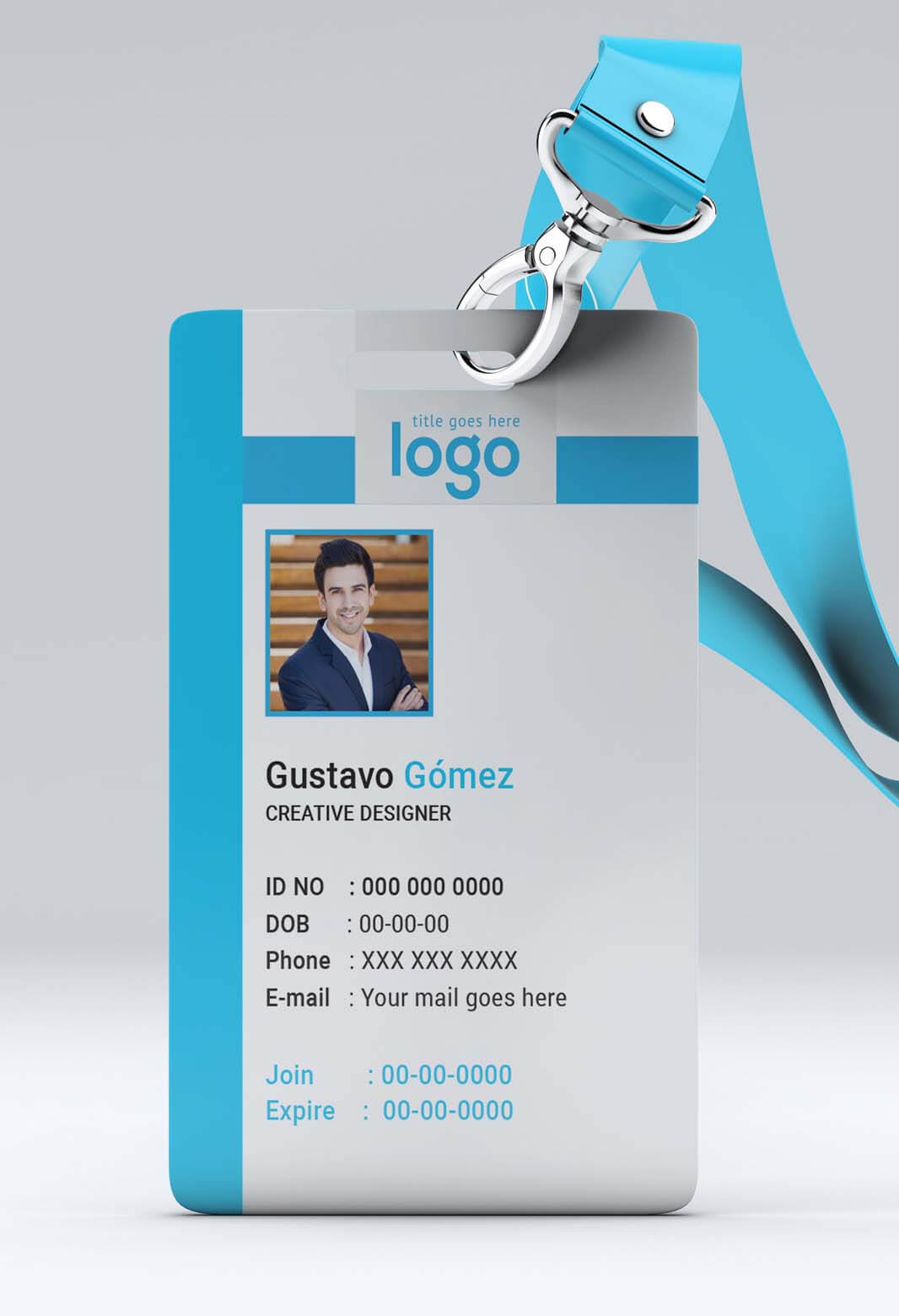 003 Id Card Template Free Ideas Intended For Portrait Id Card Template