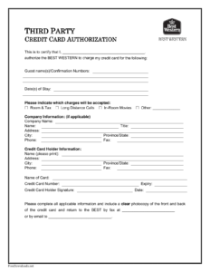 004 Credit Card Authorization Template Ideas Best Western inside Credit Card Authorization Form Template Word