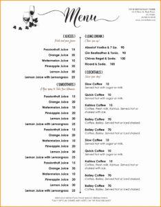 004 Free Printable Drink Menu Template Elegant Templates within Cocktail Menu Template Word Free