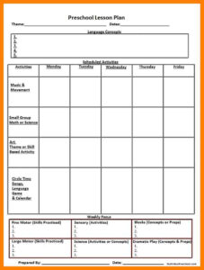 004 Template Ideas Lesson Plans For Unique Preschool Plan inside Blank Preschool Lesson Plan Template