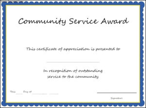 005 Community Service Certificate Template Length Of Best for Recognition Of Service Certificate Template