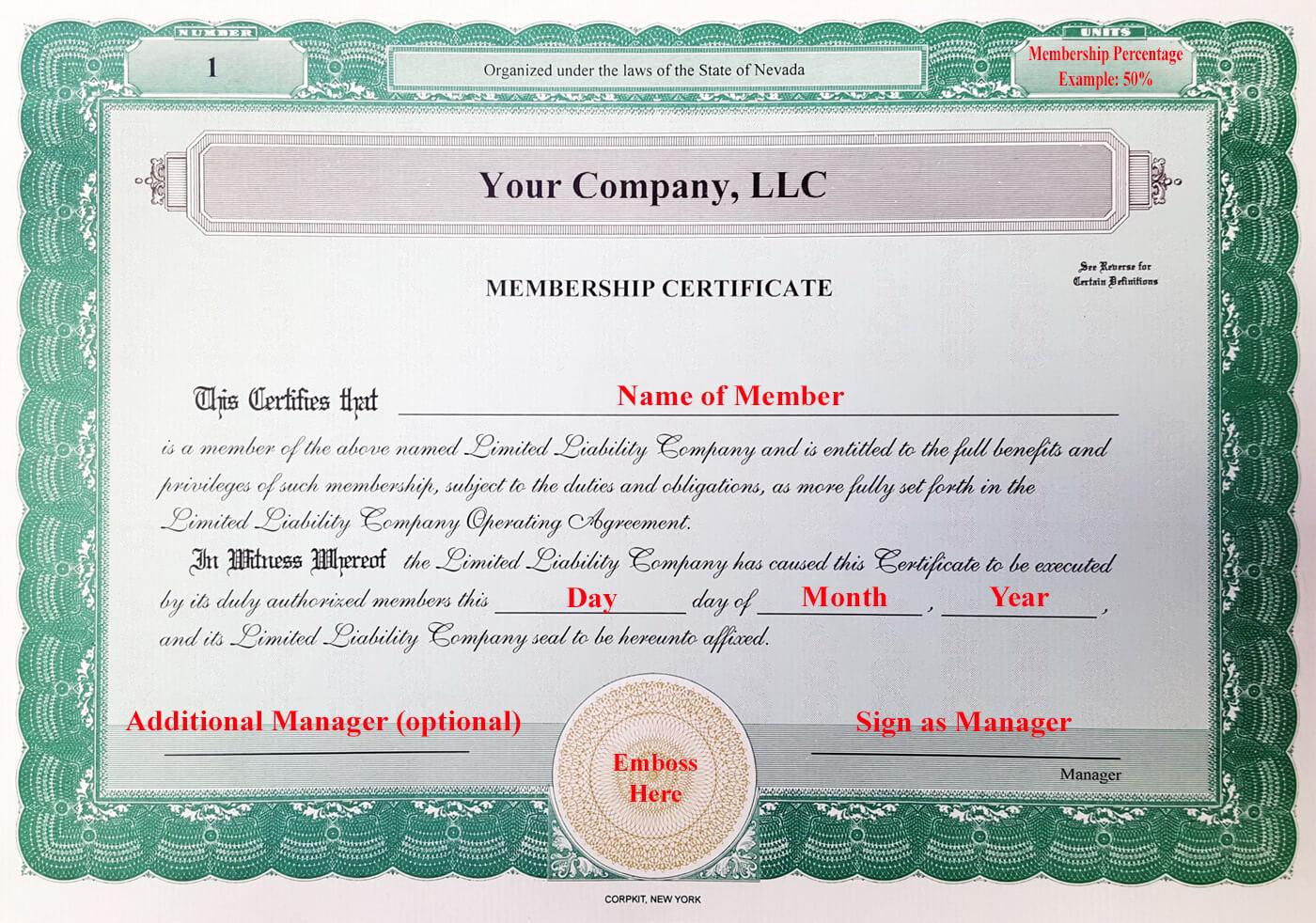 005 Llc Membership Certificate Template Member Staggering Within New Member Certificate Template