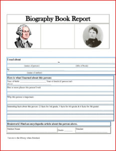 006 One Page Book Report Template New Awesome Author within Biography Book Report Template