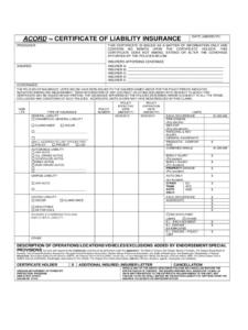 006 Template Ideas Certificate Of Insurance Liability Form throughout Certificate Of Insurance Template