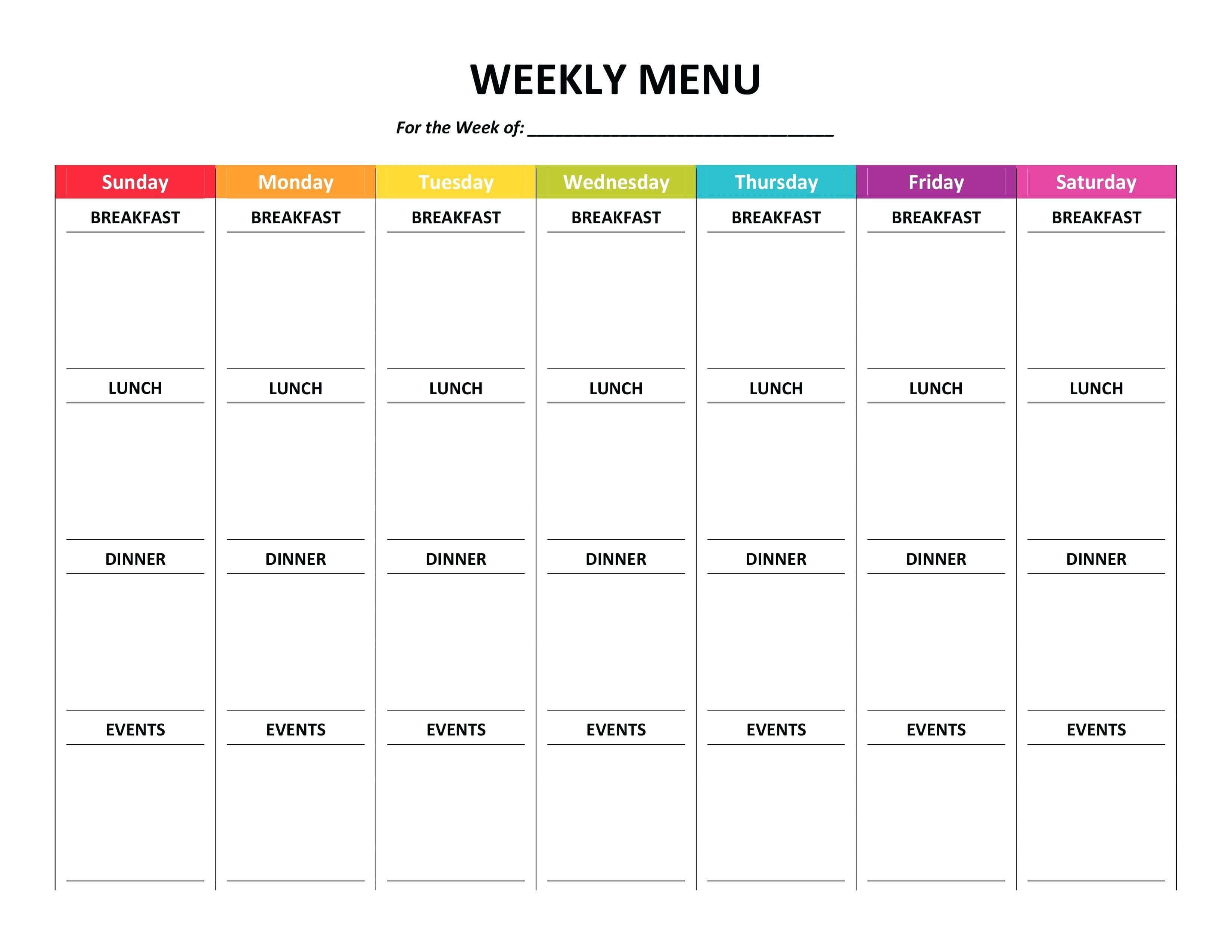 007 Meal Plan Template Word Weekly Menu Planner Fresh Of Pertaining To Weekly Meal Planner Template Word