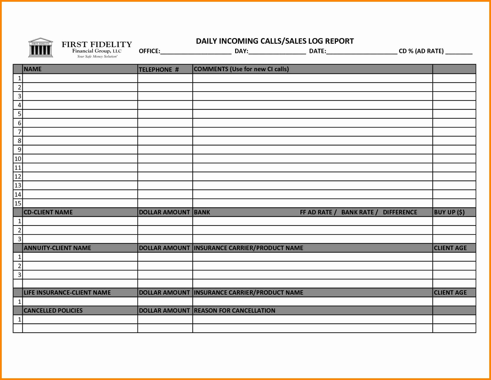 007 Sales Calls Report Template Ideas Sample Call Reports Or With Regard To Sales Call Report Template Free
