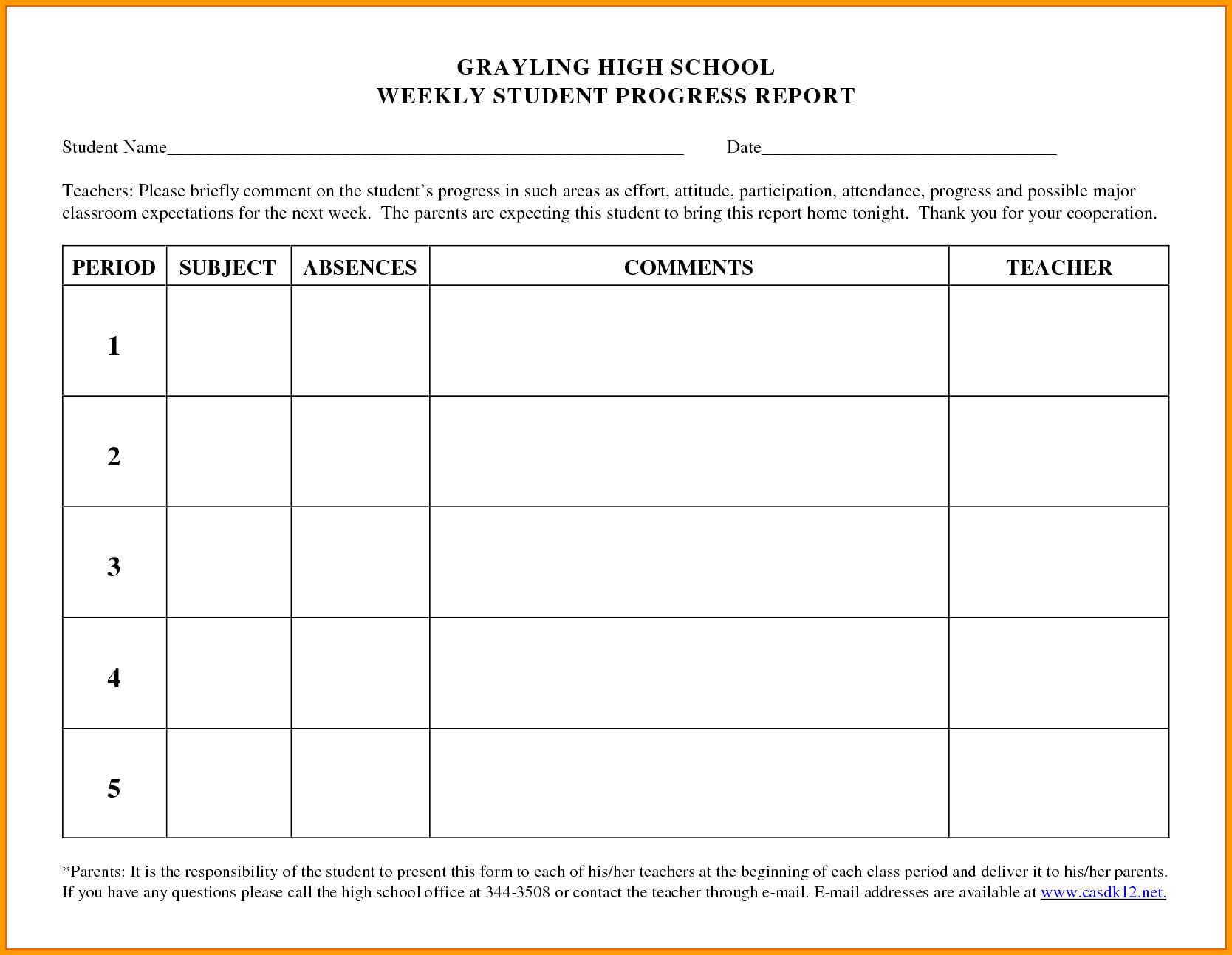 007 Student Progress Report Template Ideas Format Beautiful With High School Progress Report Template