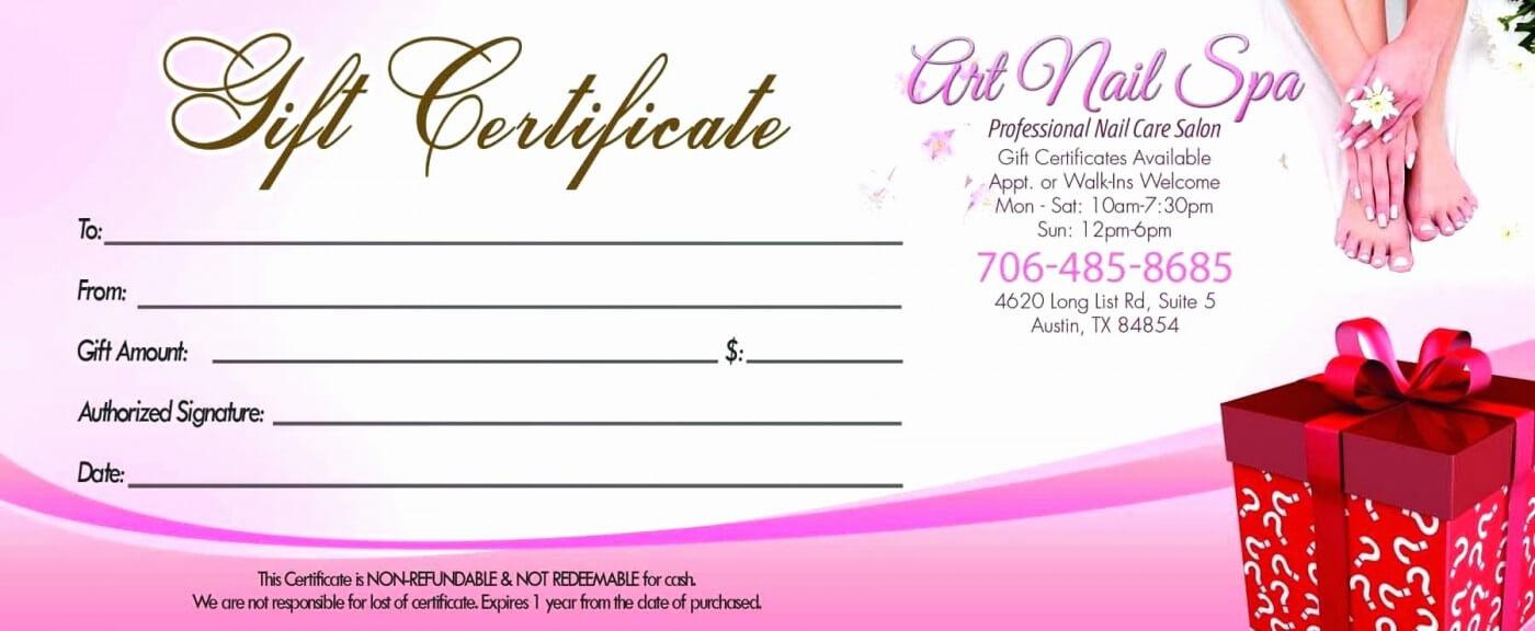 007 Template Ideas Salon Gift Certificates Templates Nail Inside Salon Gift Certificate Template