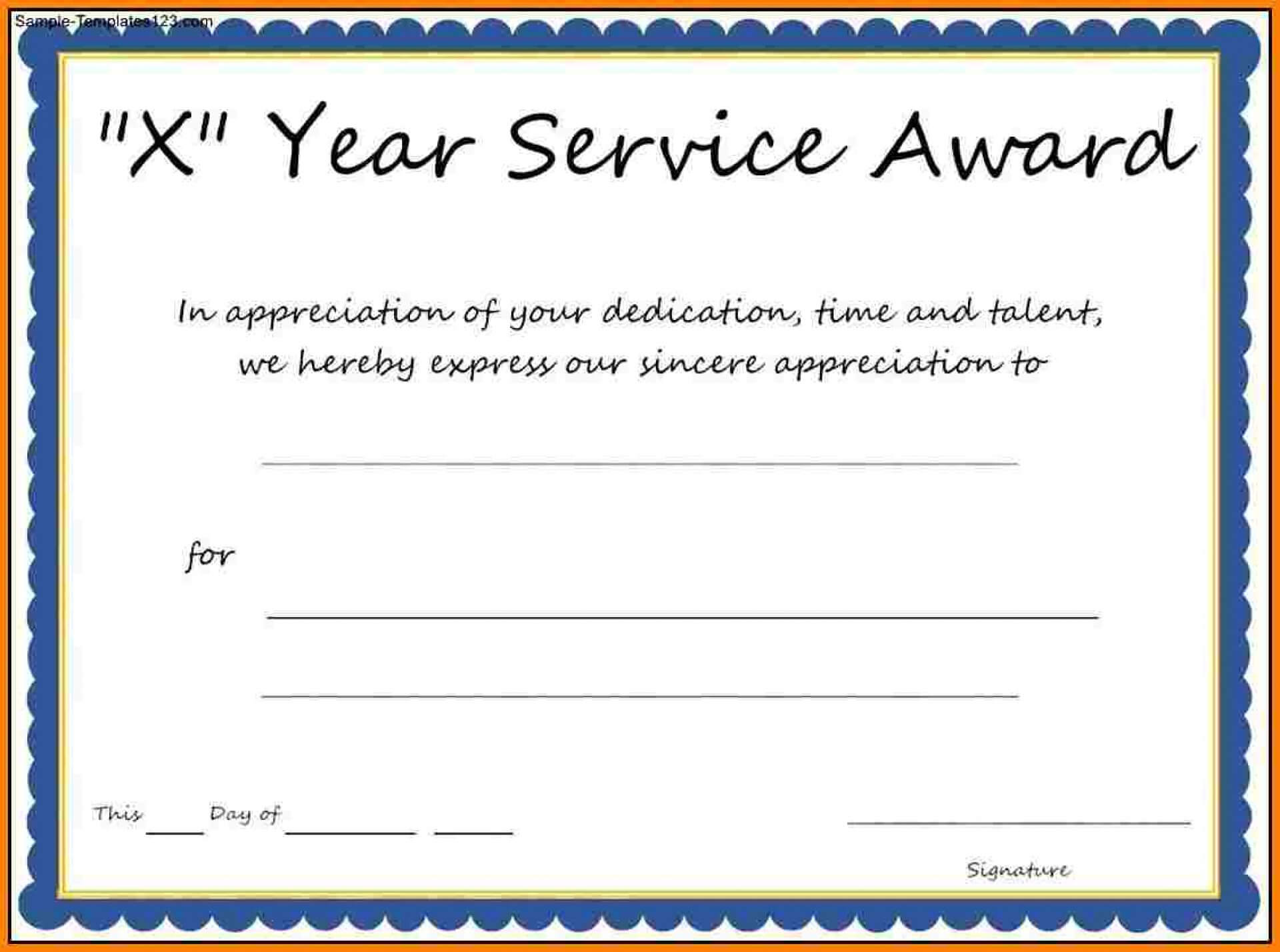 007 Template Ideas Years Of Service Certificate Employee With Certificate For Years Of Service Template