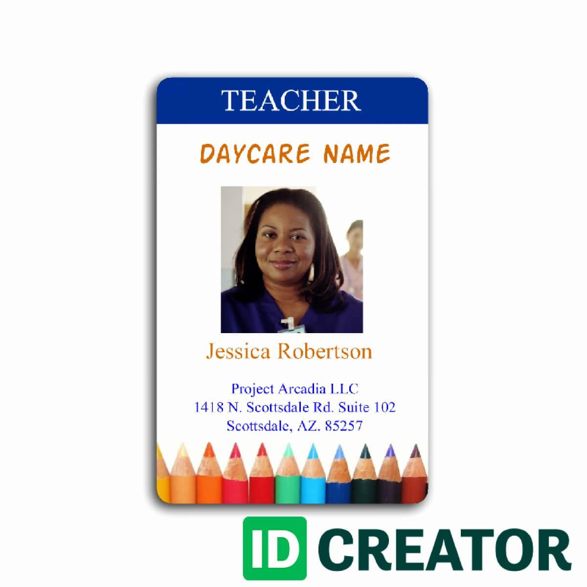 009 School Id Card Template Free Teacher Elegant Employee With Regard To Teacher Id Card Template