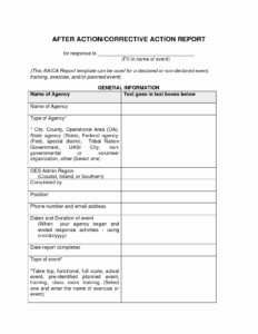 009 Template Ideas Corrective Action Report Form with After Training Report Template