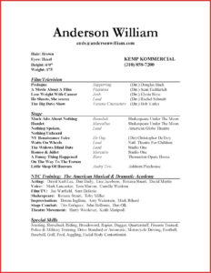 010 Actors Resume Template For Beginners Unique Sample pertaining to Theatrical Resume Template Word