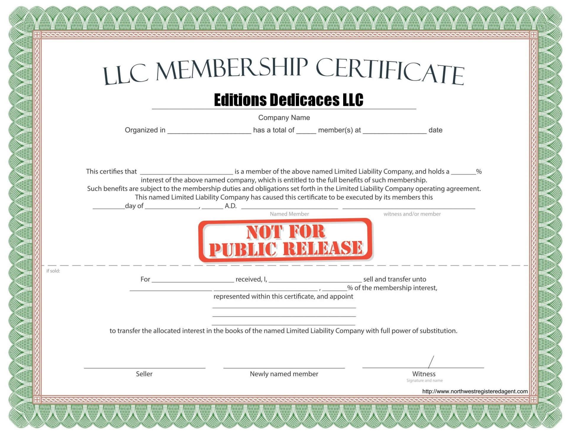010 Llc Membership Certificate Template Best Solutions For Inside New Member Certificate Template