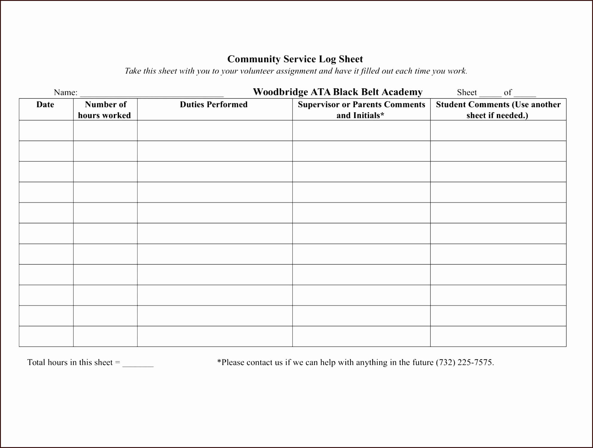 010 Volunteer Hours Form Template Ideas Community Service In Community Service Template Word
