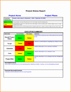 011 Status Report Template Excel Ideas Project Management Pertaining To Monthly Status Report Template