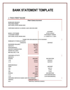 012 Credit Card Bank Account Statement Template Finance within Credit Card Statement Template