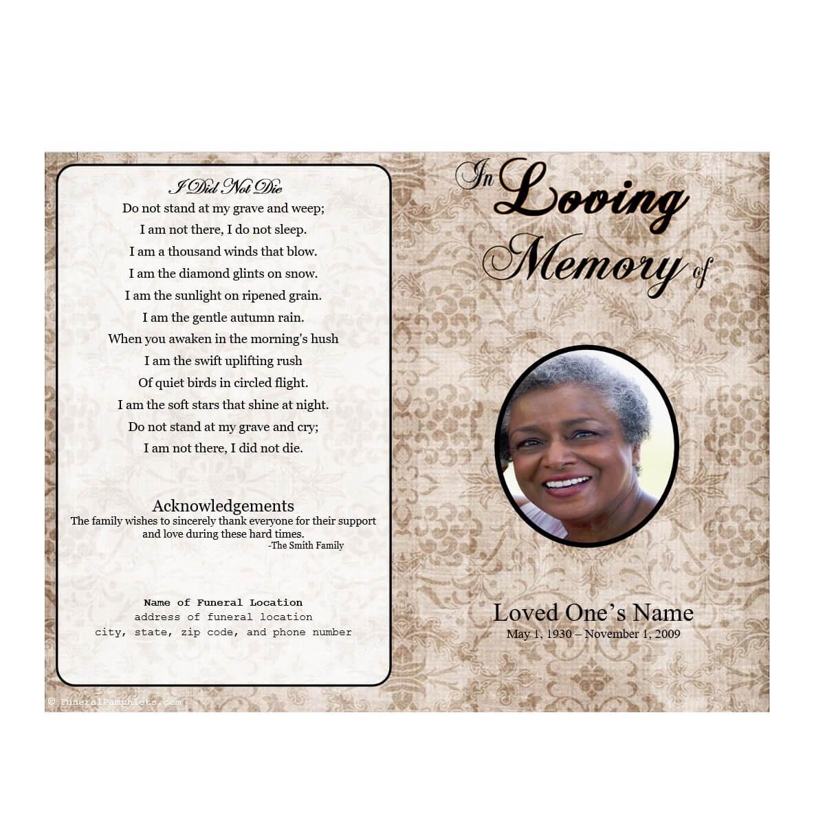 012 Free Funeral Program Template Download Ideas Floral Inside Memorial Brochure Template