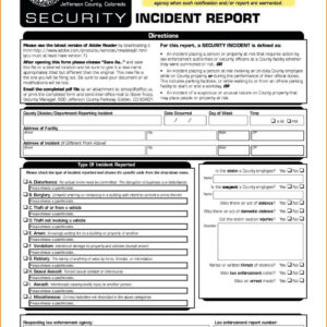 013 Physical Security Incident Report Template Surprising intended for Physical Security Report Template