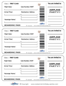 014 Blank Printable Airplane Boarding Pass Invitations pertaining to Plane Ticket Template Word