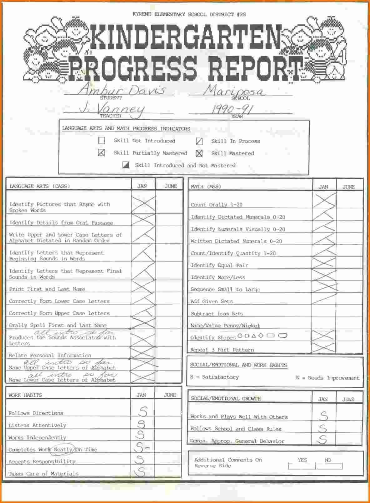 015 Kindergarten Report Card Template Ideas Templates High For Kindergarten Report Card Template