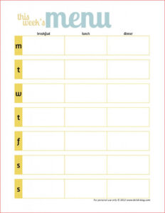 017 Printable Weekly Meal Planner Template Word Free Menuate throughout Weekly Meal Planner Template Word