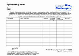 018 Example Sponsor Form Template Free Ideas Event Unusual throughout Blank Sponsor Form Template Free