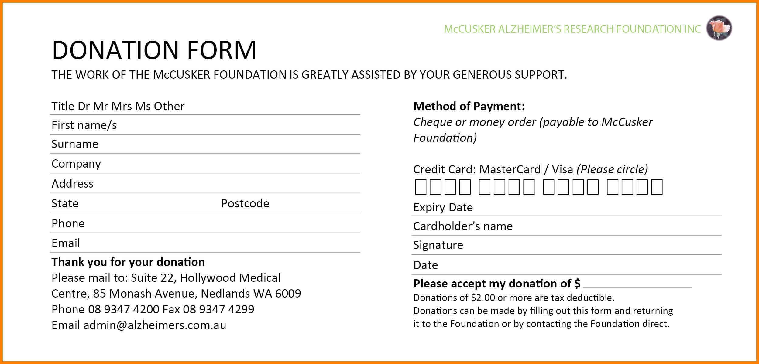 donation pledge card template - Ficim Pertaining To Fundraising Pledge Card Template