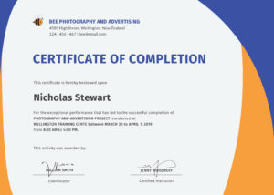 022 Certificate Of Completion Template Wondrous Ideas Pdf intended for Construction Certificate Of Completion Template