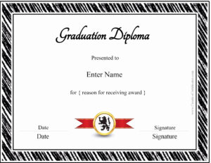 022 Free Printable Diploma Template Best Of Graduation with Free Printable Graduation Certificate Templates