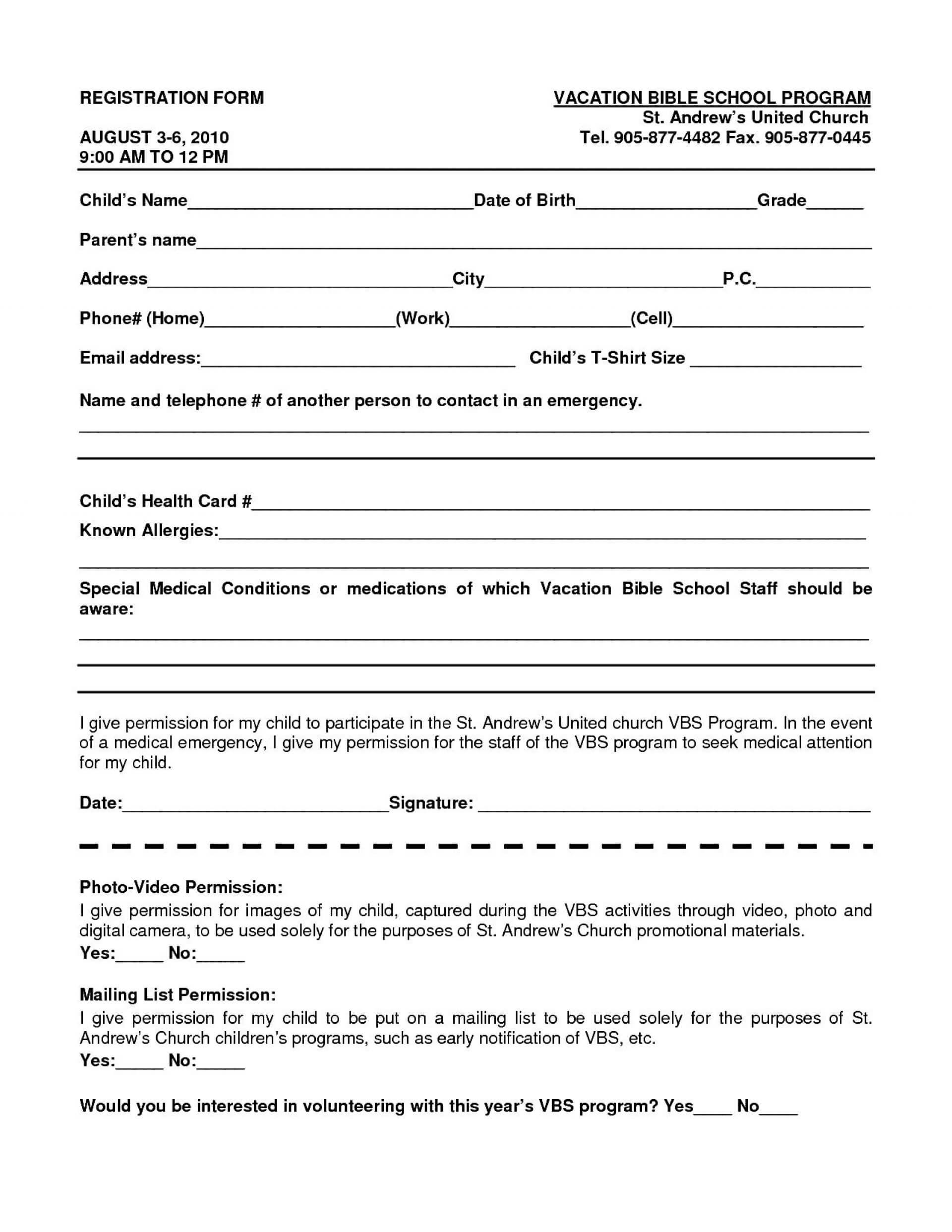 023 School Registration Form Template Word 102813 Ideas Free Within School Registration Form Template Word