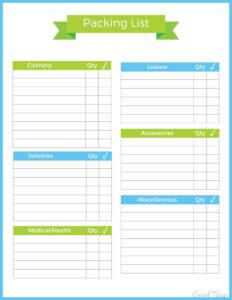 023 Travel Packing List Template Binder Sarah Titus Inside within Blank Packing List Template