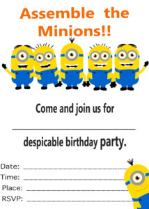 027 Minion Birthday Party Invitations Using Some Artistic for Minion Card Template