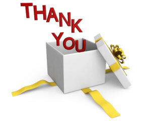 0914 Thank You Words Coming Out Of Gift Box Stock Photo regarding Powerpoint Thank You Card Template