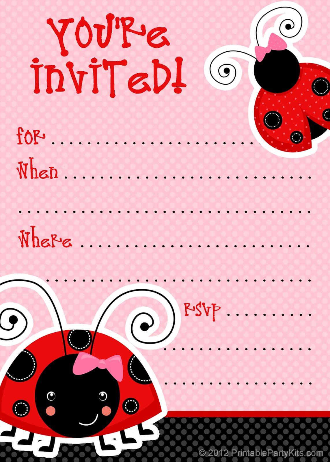 1) Free Printable Ladybug Invitation Blank Template. 2 For Blank Ladybug Template