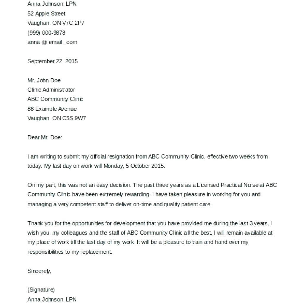 10+ 2 Weeks Notice Letter Template | Lycee St Louis For 2 Weeks Notice Template Word