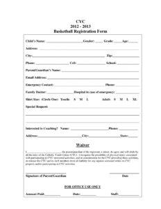 10+ Basketball Registration Form Samples in Camp Registration Form Template Word