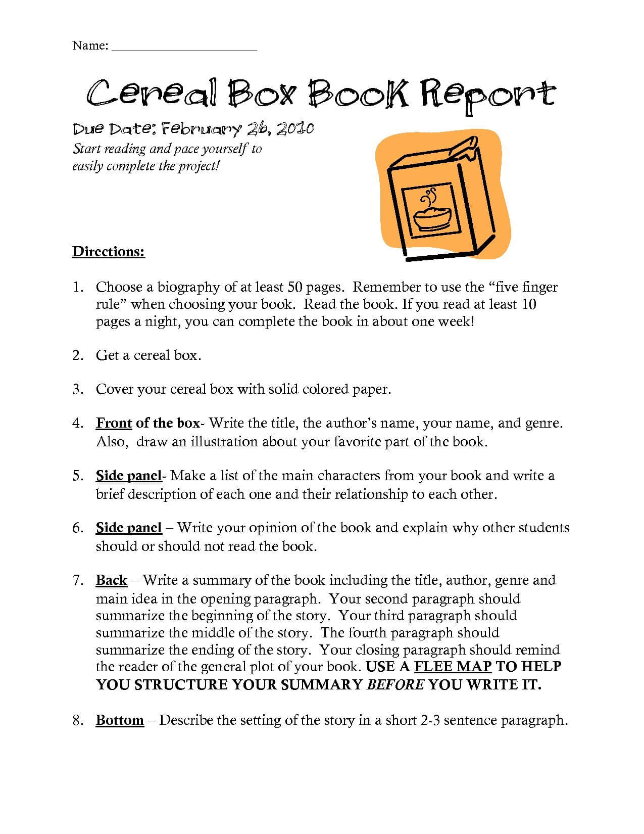 10 Cereal Box Book Report Templates | Resume Letter For Mobile Book Report Template