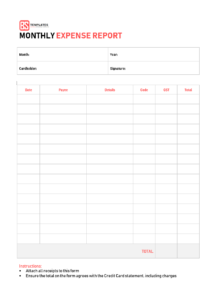 10+ Expense Report Template – Monthly, Weekly Printable regarding Monthly Expense Report Template Excel
