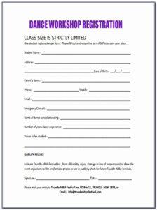 10 Workshop Registration Forms Free Sample Example Format intended for School Registration Form Template Word