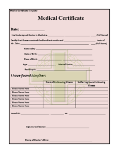 11+ Medical Certificate Templates For Leave – Pdf, Doc in Medical Report Template Doc