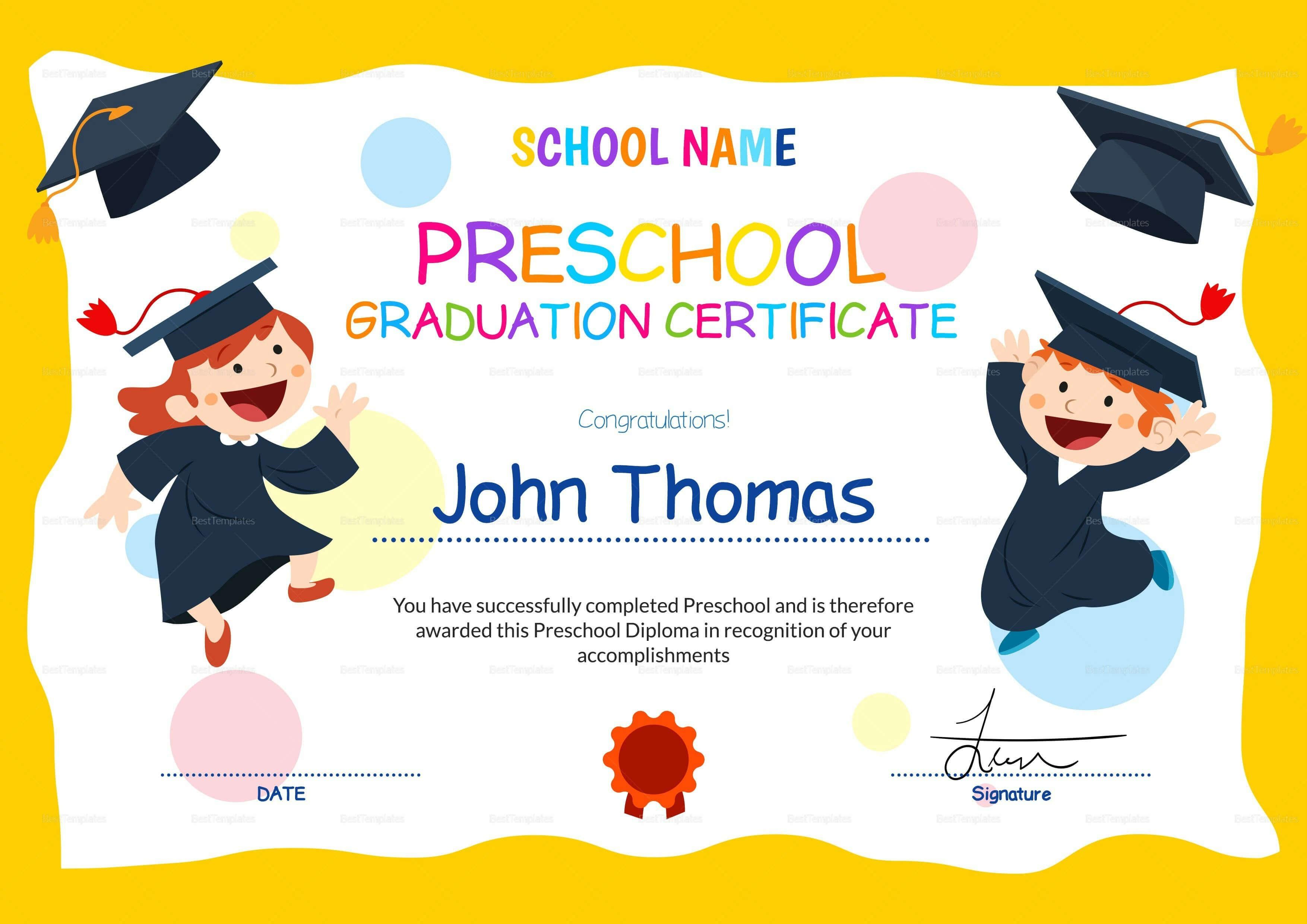 11+ Preschool Certificate Templates – Pdf | Free & Premium With Children's Certificate Template