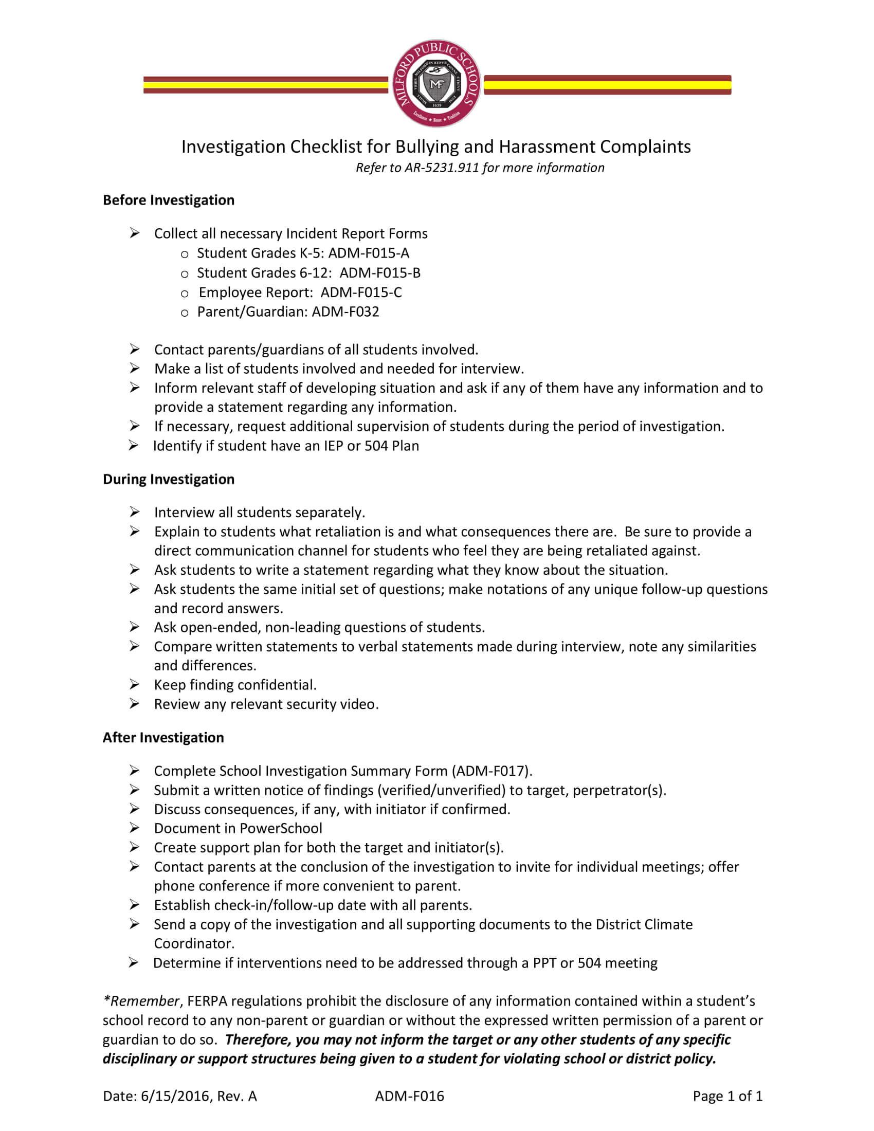12+ Harassment Investigation Checklist Examples – Pdf For Sexual Harassment Investigation Report Template