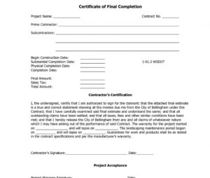 12 Samples Of Certificates Of Completion   Proposal Resume with Construction Certificate Of Completion Template