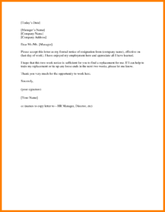 14+ Two Weeks Notice Template Word | Management On Call Regarding 2 Weeks Notice Template Word