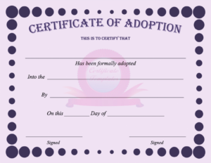 15+ Adoption Certificate Templates | Free Printable Word Throughout Adoption Certificate Template