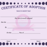 15+ Adoption Certificate Templates | Free Printable Word With Regard To Baby Doll Birth Certificate Template