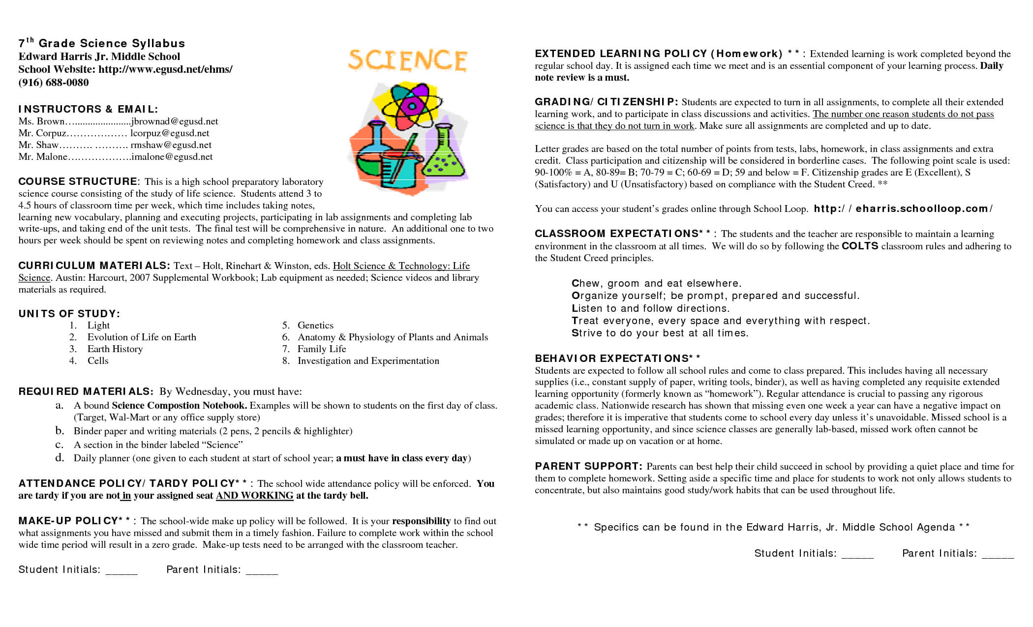 15 Awesome Syllabus Template For Middle School Images Inside Blank Syllabus Template